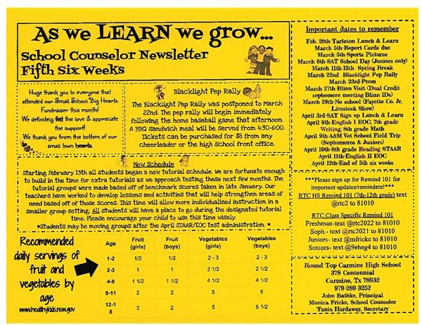 School Counselor Newsletter 5th six weeks
